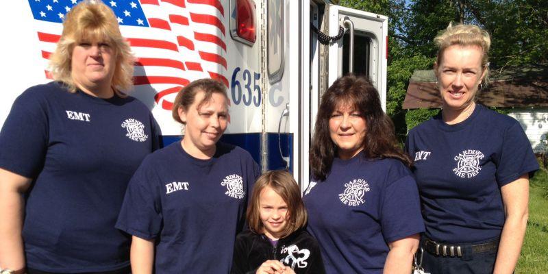 Karen Baxter, EMT, Deb Bailin, 1st Lt , Jordan Bailin, Donna Lyons, EMT, Helen Zimmermann, Capt.
